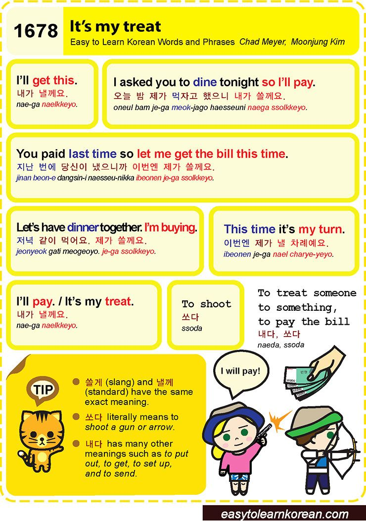 1678 It's my treat | Easy To Learn Korean Words And Phrases | Korean