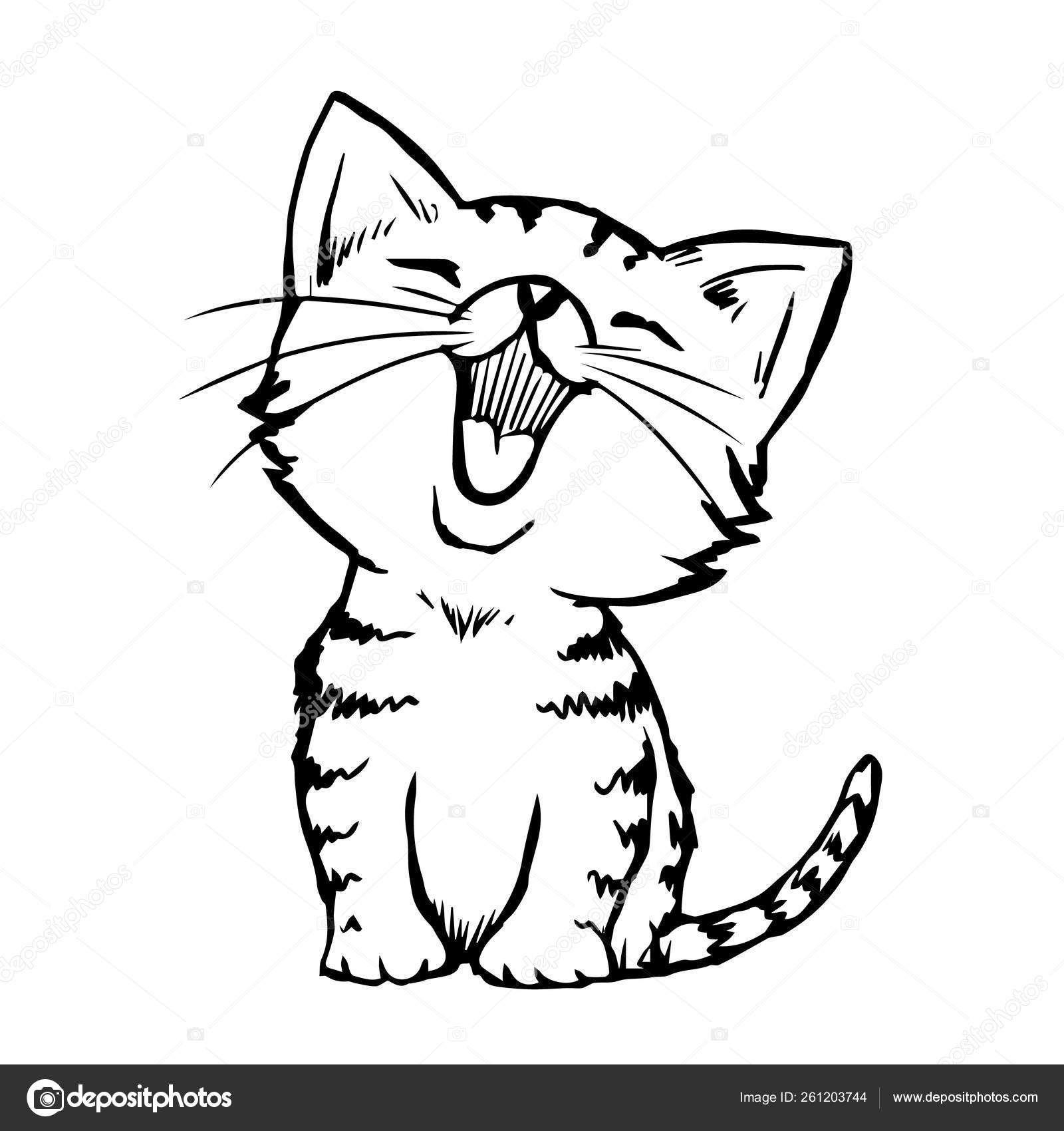 Ilustracion De Dibujo A Mano Alzada De Gato Dibujado A Mano Doodle Gatito Ilustraciones De Gato Dibujos De Gatos Dibujo Gato Facil