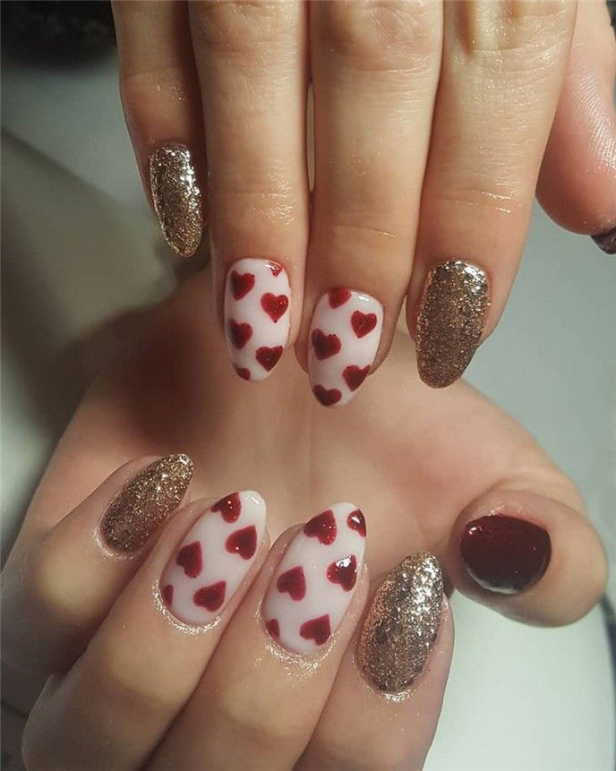 50+ Best Lovely And Romantic Heart Nails Inspirational ...