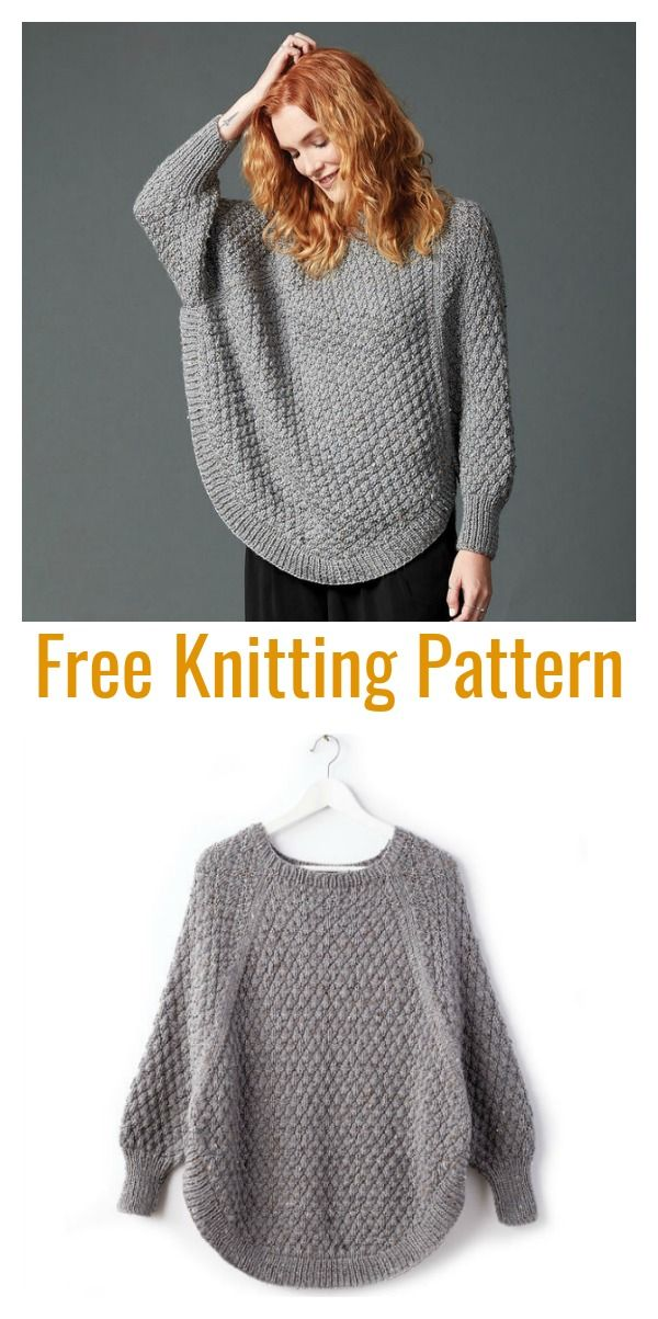 Lovely Sleeved Poncho Free Knitting Pattern #knit