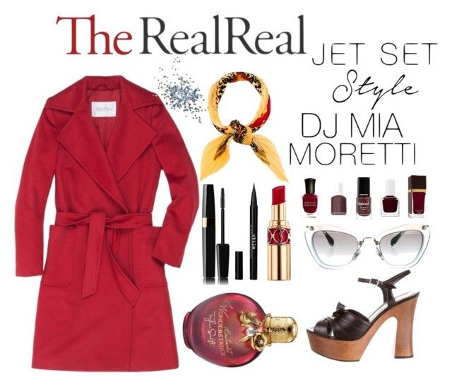 """Jet Set Style With DJ Mia Moretti & The RealReal: Contest Entry"" by dessyepalupi ❤ liked on Polyvore featuring MaxMara, Hermès, Yves Saint Laurent, Miu Miu, Stila and Topshop"