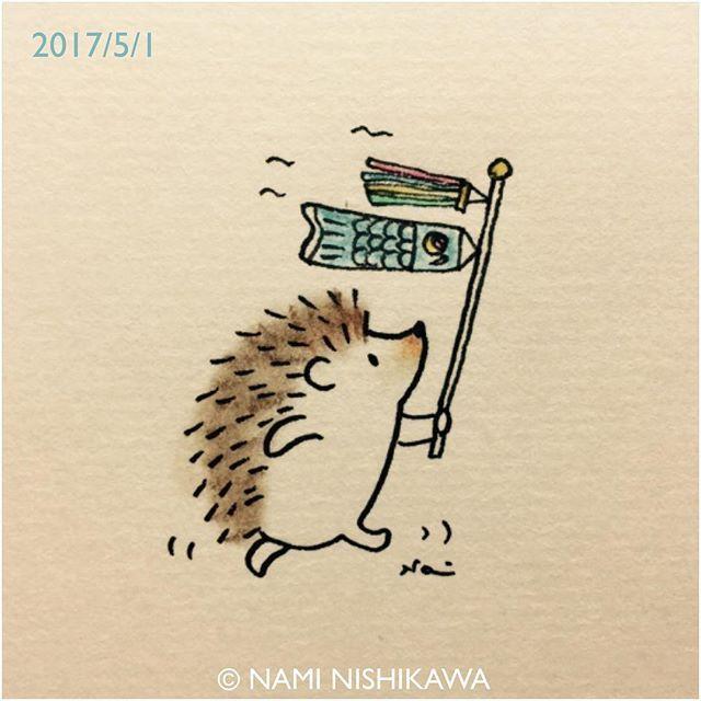 1163 今日から5月 May Has Come Illustration Hedgehog イラスト