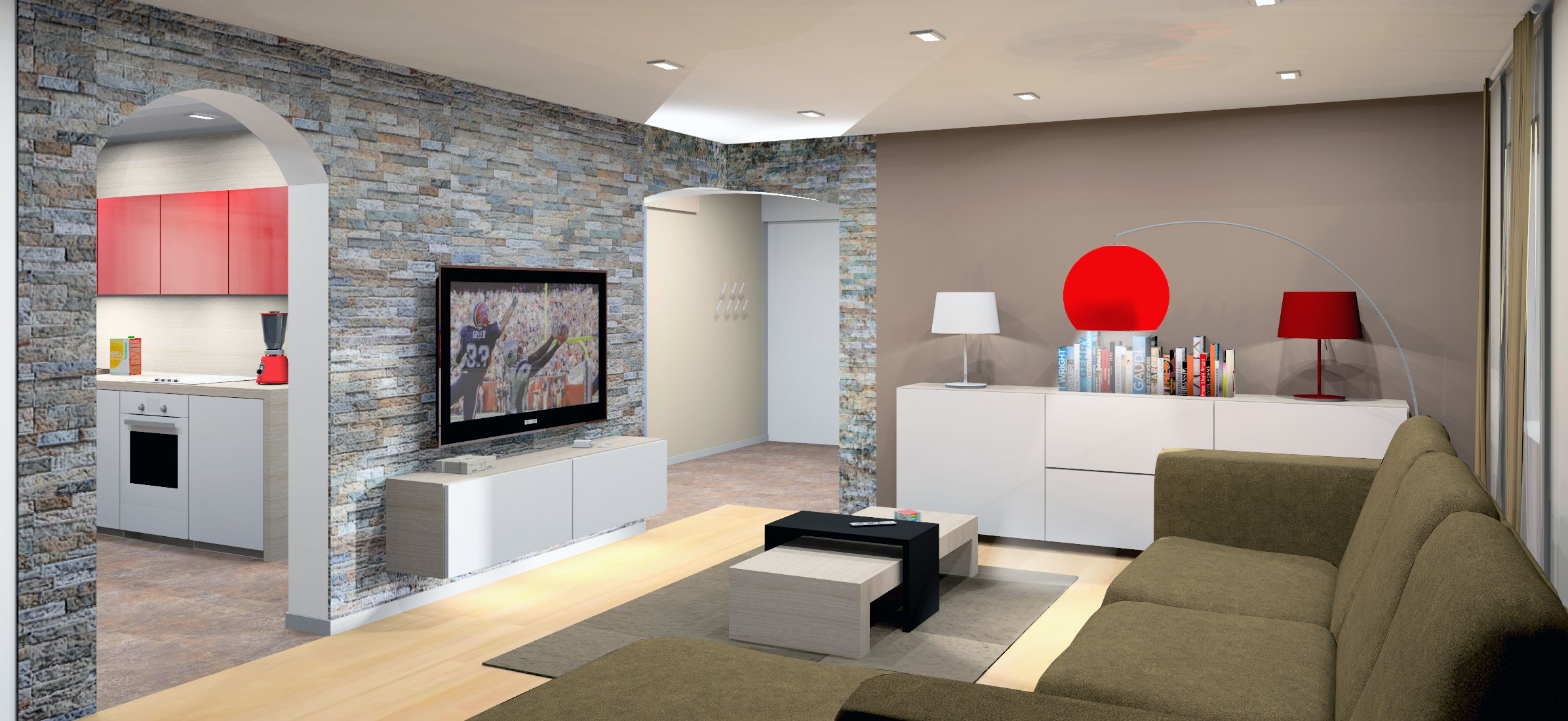 Living room with kitchen: project, design. Interior of kitchen combined with living room 99
