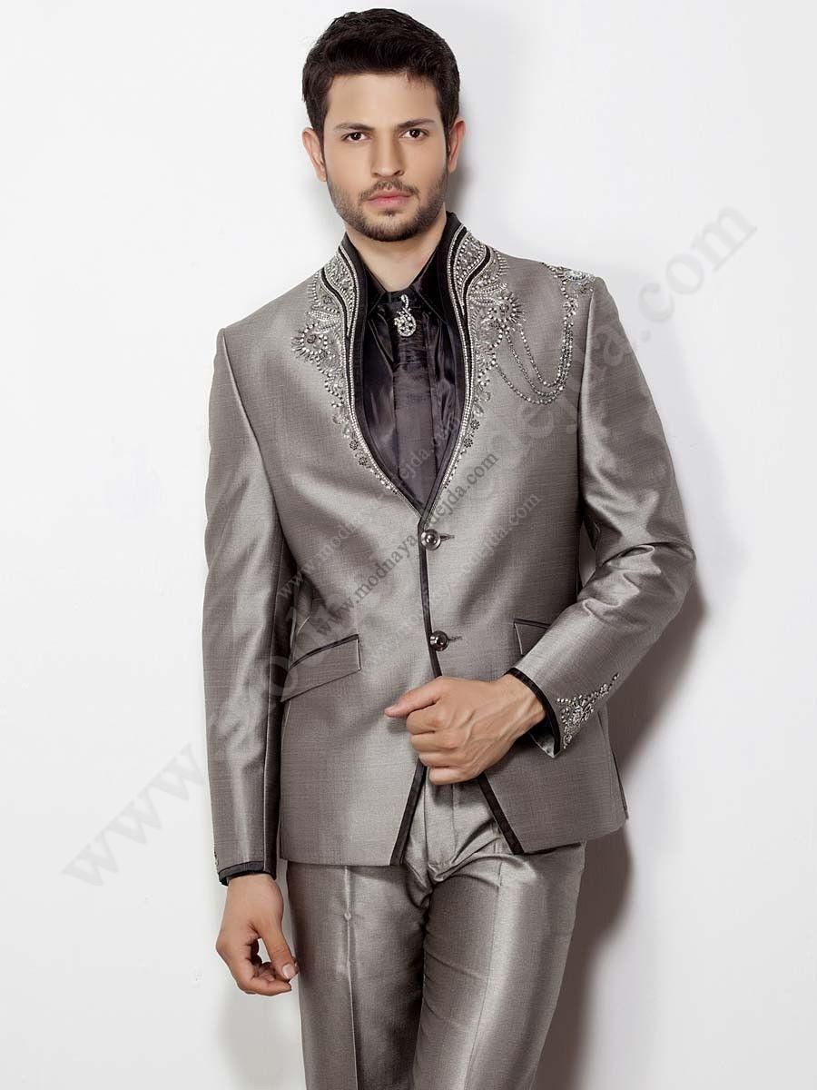 07f6a5fd4a92f Серый мужской костюм-двойка + чёрная шёлковая рубашка + галстук с ...