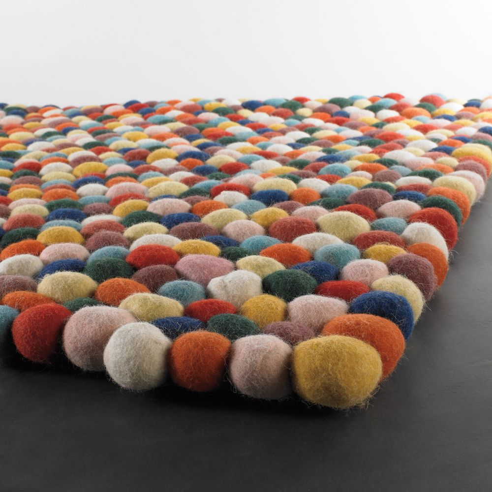mandara handwoven multicolor thick wool balls rug shopping great