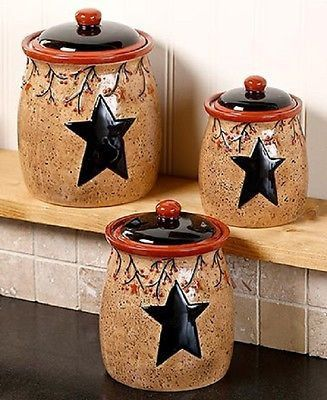 Canister Set Speckled Country Rustic Primitive Farmhouse Antique
