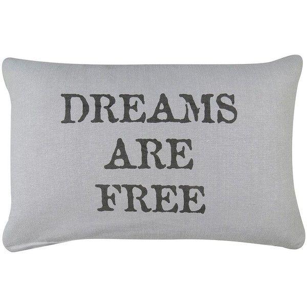 Park B Smith \u0027\u0027Dreams Are Free\u0027\u0027 Gray Throw Pillow ($36) ❤ liked