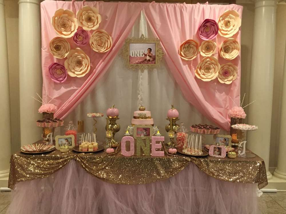 Pink gold birthday party ideas pink gold birthday for Table design for 1st birthday