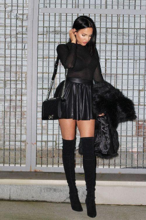 fee9a3d38d47 girls in black leather skirt jacket knee boots - Google zoeken ...
