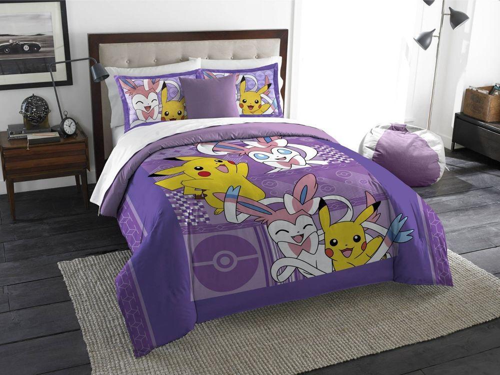 Bedding Comforter Set Pokemon Pikachu Sylveon Twin Full Kids Duvet