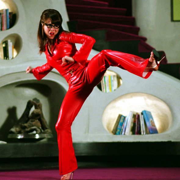 Red Rubber Suite: Red Latex Catsuit Worn By Linda Cardellini. Click Here To