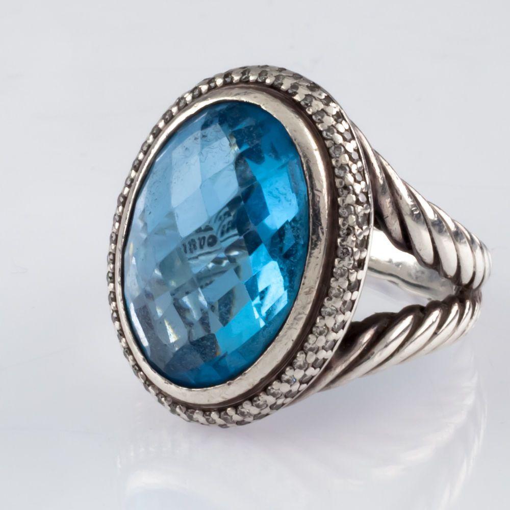 David Yurman Sterling Silver Signature Blue Topaz Ring W