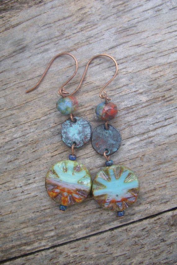 Summer Sunset- Czech Glass Picasso Carved Star Bead Earrings, Boho Jewelry, Earthy Jewelry, Greek Earrings, Patina Jewelry, Antiqued Copper