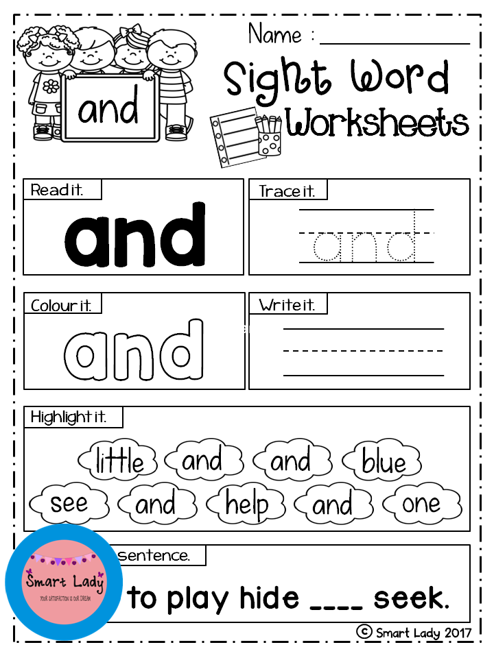 Sight Word Worksheets (Pre-Primer)