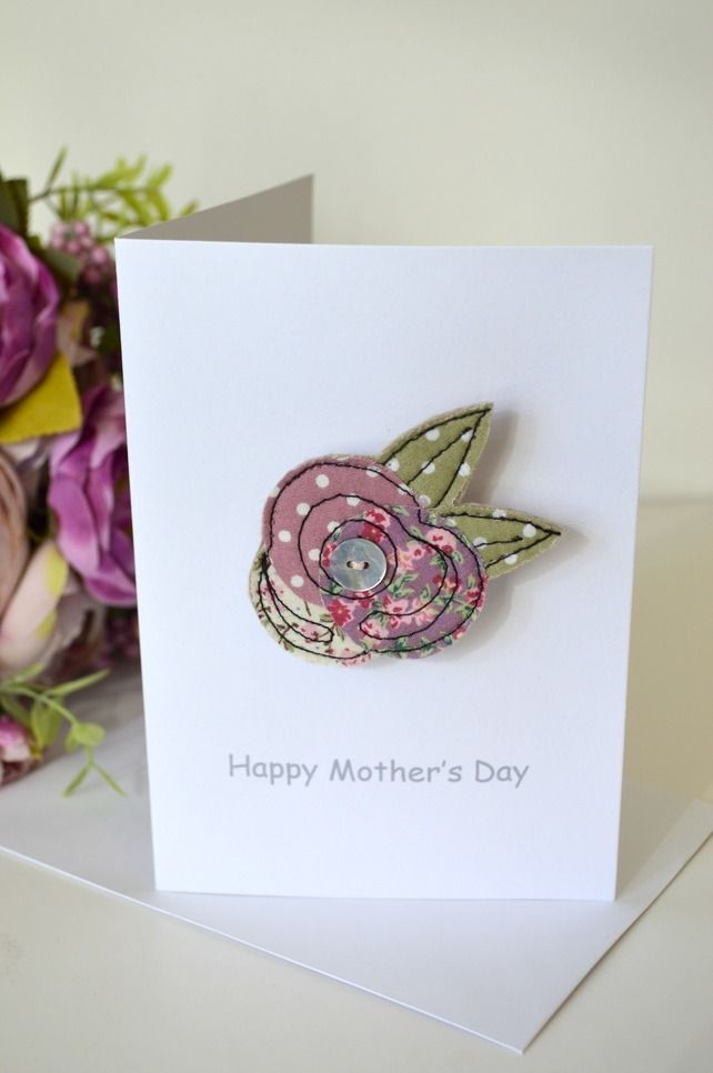 Mother's Day card with a fabric flower brooch handmade by Stitch Galore. A Mother's Day card as well as a little gift. www.stitchgalore.com