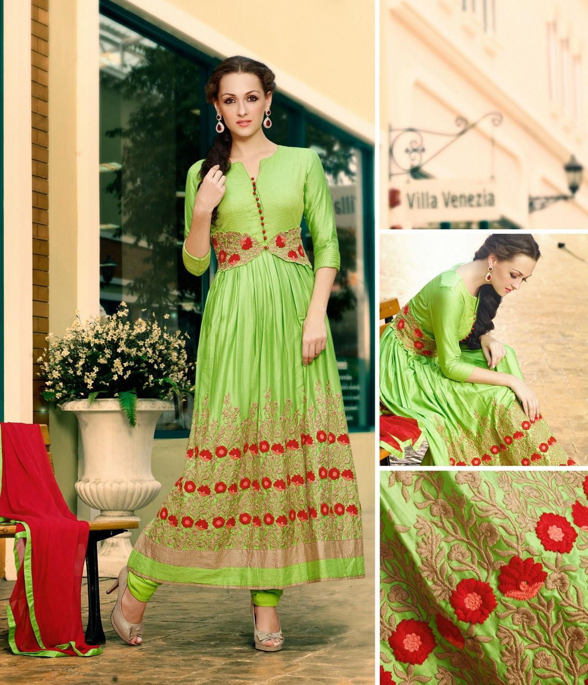 Zohraa presenting green cotton anarkali suit with embroidered