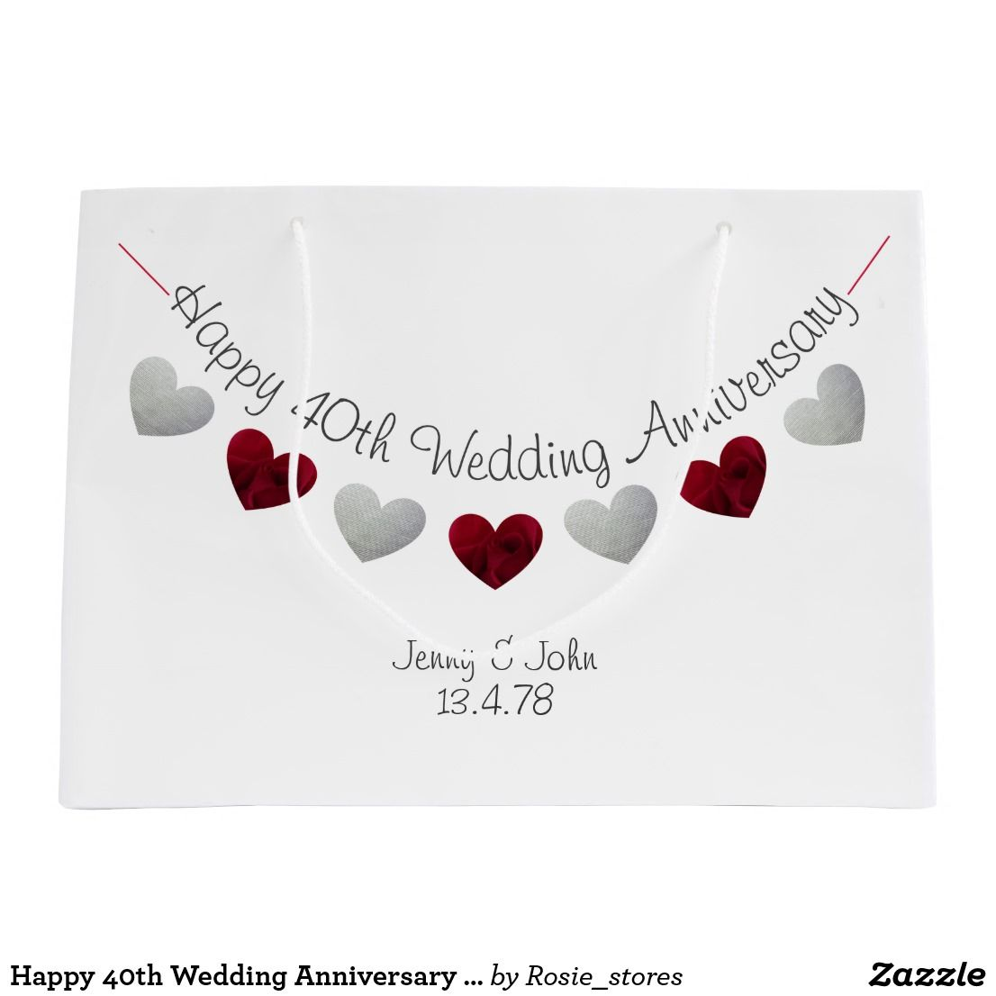 Happy 40th Wedding Anniversary ruby rose hearts Large Gift Bag