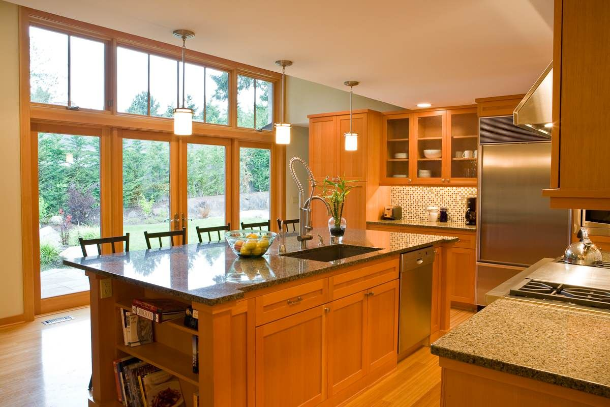 Brazilian Cherry Wood Floors And Vertical Grain Douglas Fir For The Wood Usual House Contemporary Kitchen Pacific Northwest Style Kitchen Layout