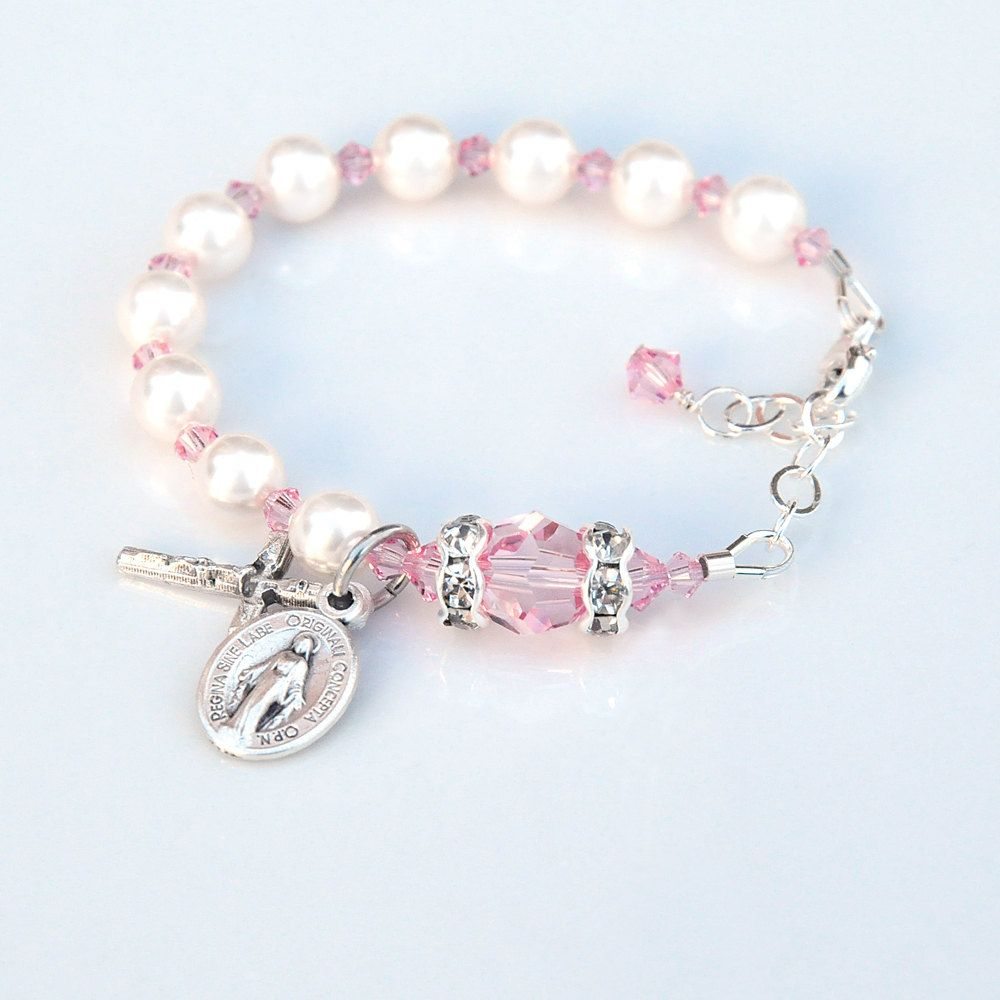 226ab8951 Baby Girl Light Pink Rosary Baptism Bracelet - Personalized Custom Initial  - Swarovski Crystal and White Pearls - Catholic Christening Gift by ...