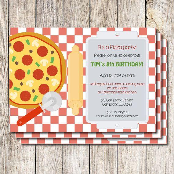 Pizza Party Invitation Pizza Birthday Party Cooking Eco Friendly Invitation Custom