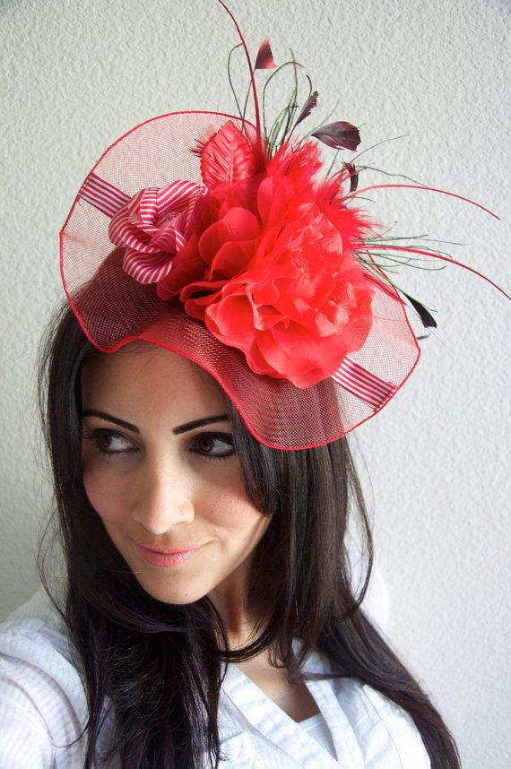 Red Fascinator Hat English Rose Couture Hat by EyeHeartMe ... f7366205806