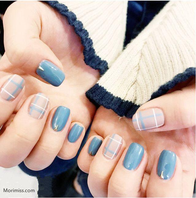 Korean Fashion Blue Plaid Nails Art Beauty Amazing