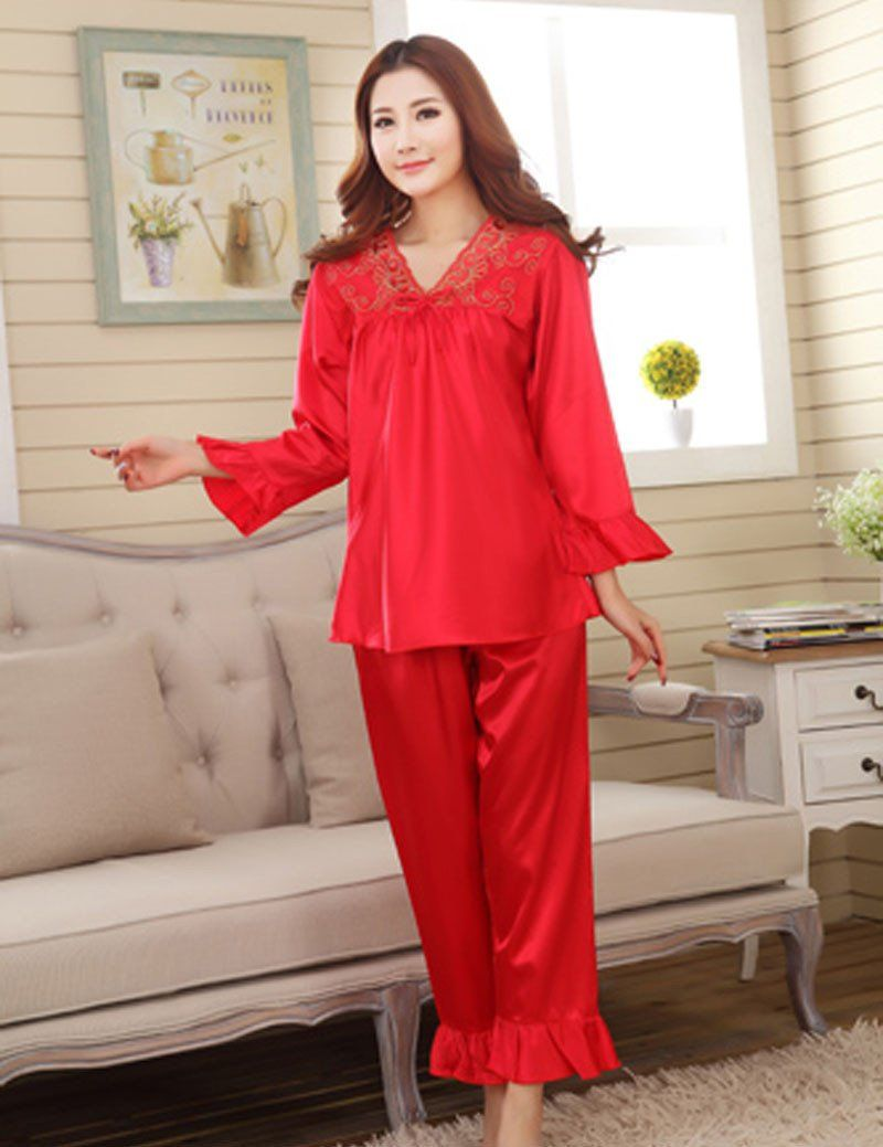 faux silk men sleepwear mens pajamas Men\'s Sleep & Lounge male ...