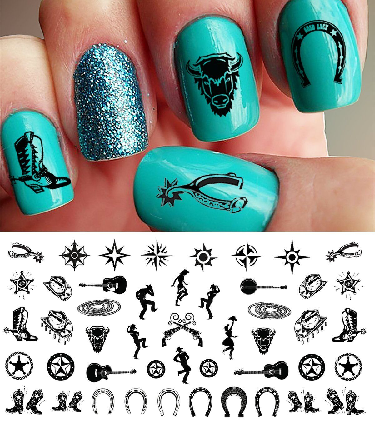 Country and Western Nail Art Waterslide Decals SetNo.1 - Horseshoes ...