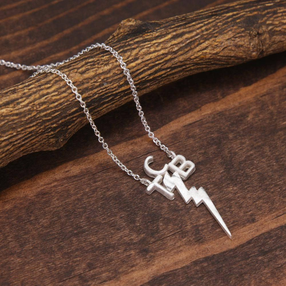 Silver taking care of business necklace lightning bolt necklace