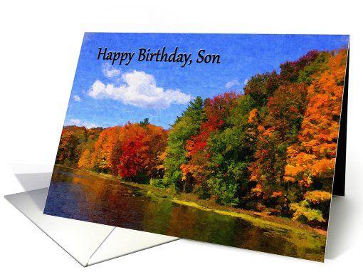 Happy birthday son autumn scene card pinterest happy birthday happy birthday son autumn scene card m4hsunfo
