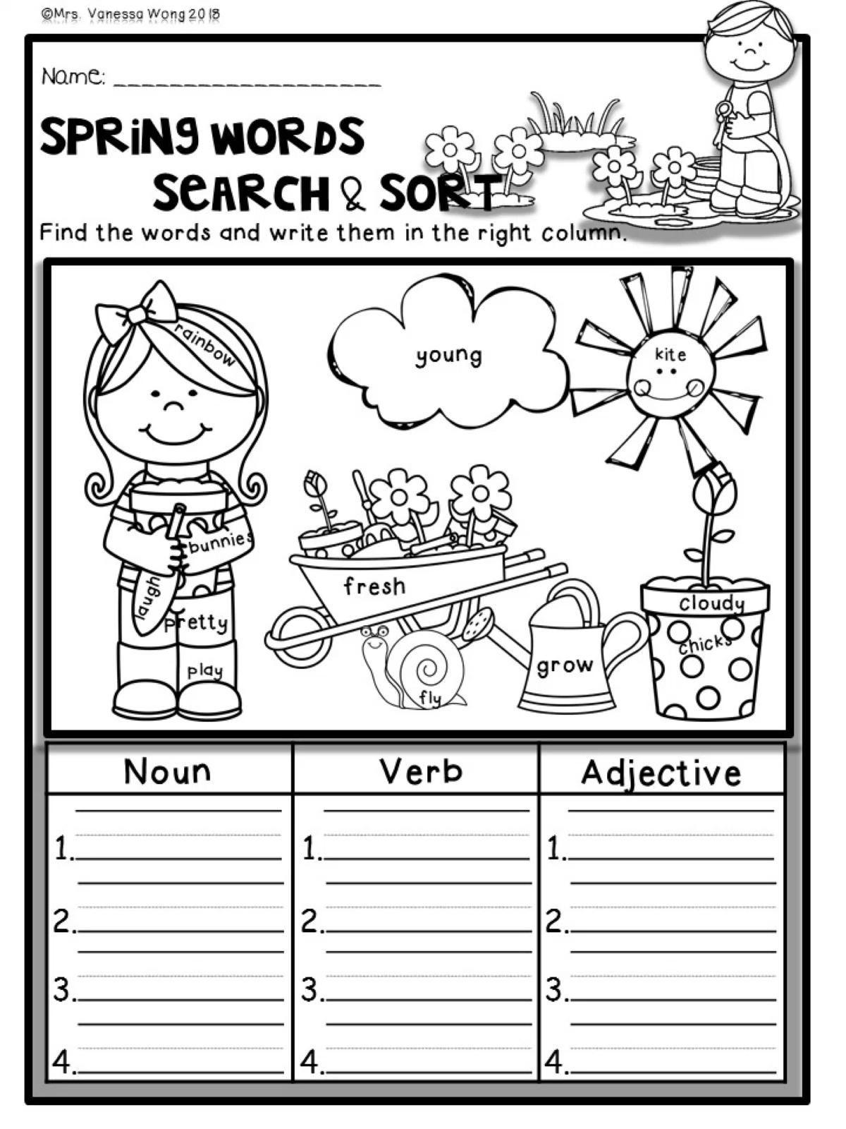 Fall, Winter, Spring & Summer Seasonal bundle-math & literacy worksheets First Grade