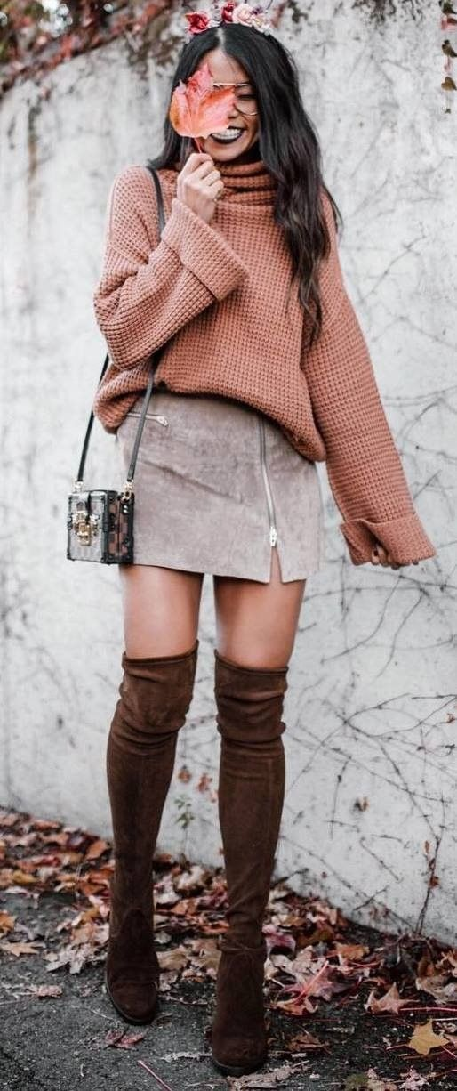 women's brown turtle neck swweater; grey zippered suede pencil mini skirt; pair of brown suede thigh high boots