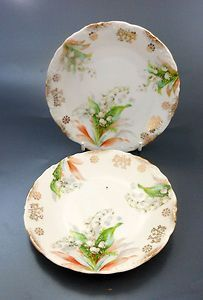 Pair Early Silesian Lily of the Valley Plates K Steinman Poland Germany $19.99