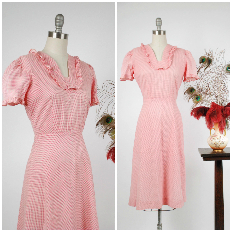 1940er Jahre Vintage-Kleid entzückende rot-weiß karierte | Vintage ...