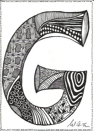 Zentangle G Alphabetically Speaking