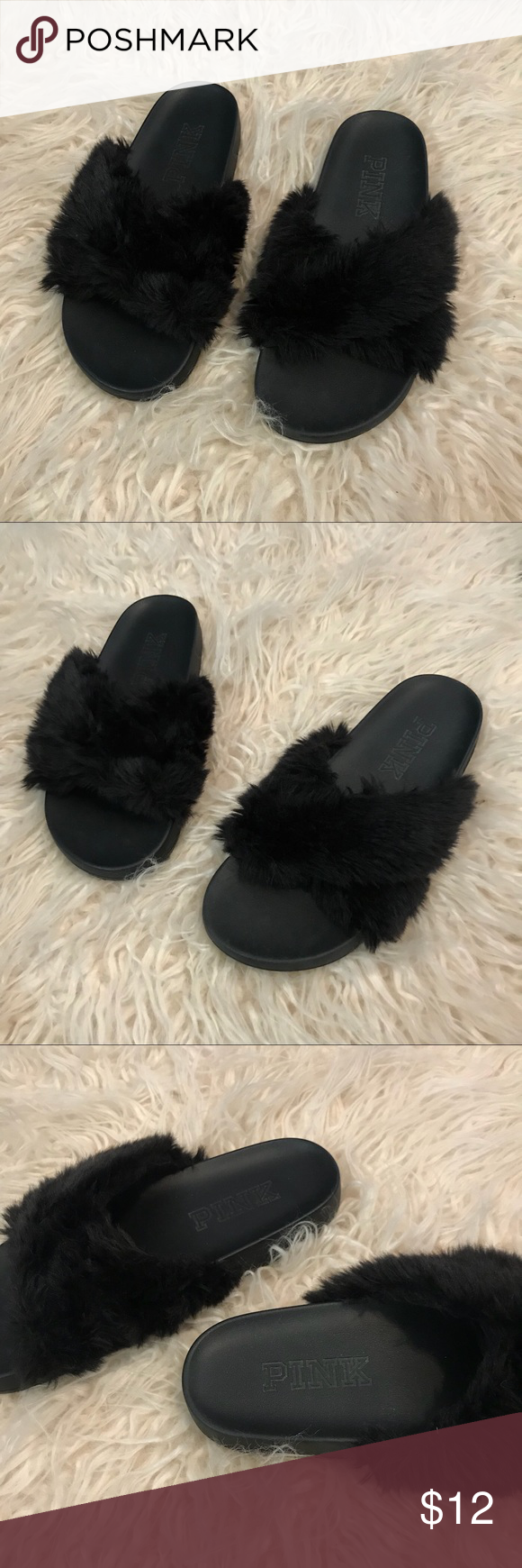 5eb567a3530d Fur Slides ✨ Victoria Secret PINK fur fuzzy slides. Size small fits a 6-7  these are lightly worn no major signs of wear. Still have lots of life in  them.