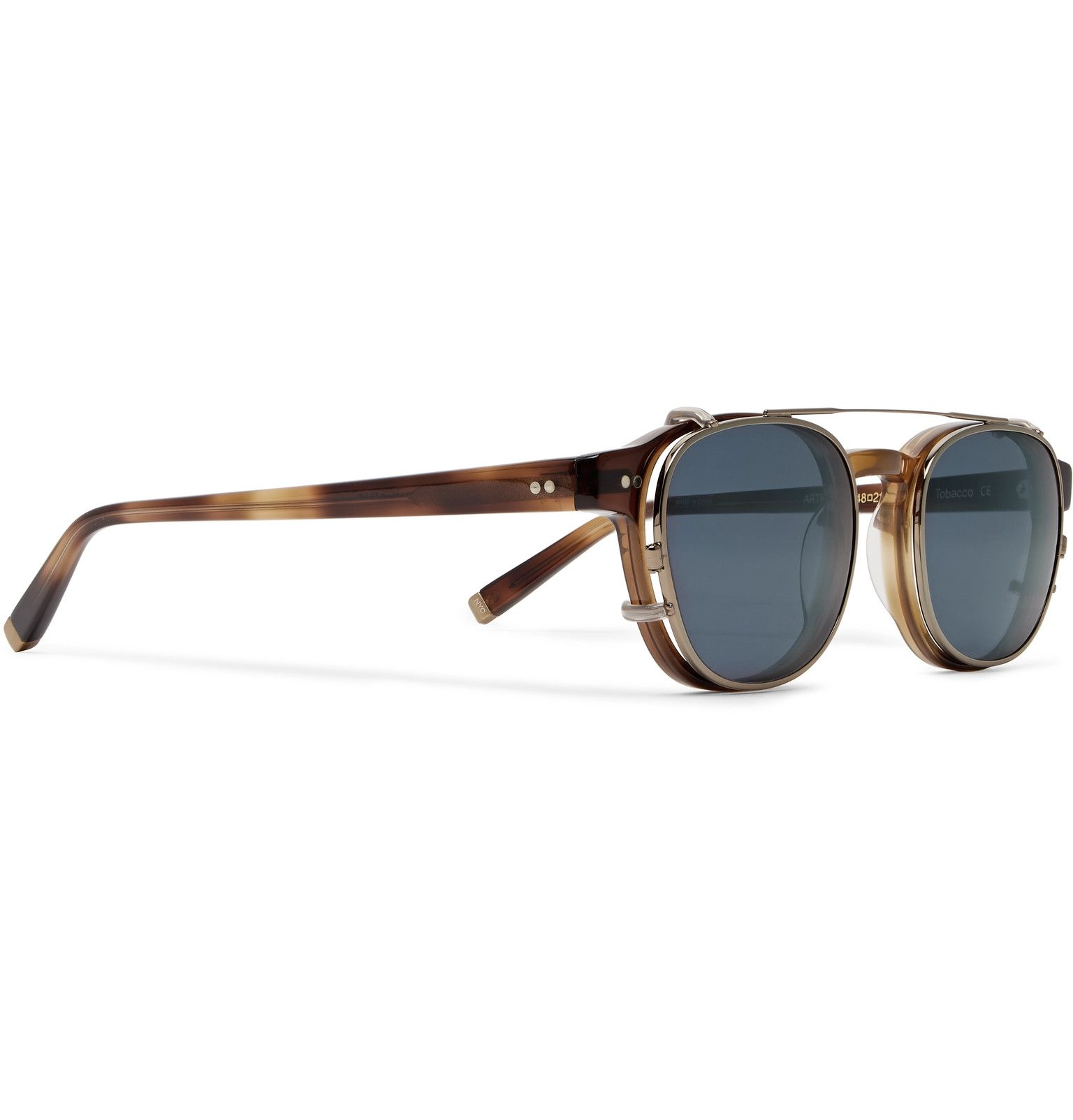 5cf37a7a26 Moscot - Arthur Round-Frame Tortoiseshell Acetate Optical Glasses with  Clip-On UV Lenses