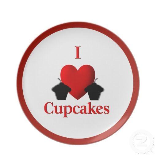 I Heart Cupcakes Dinner Plate
