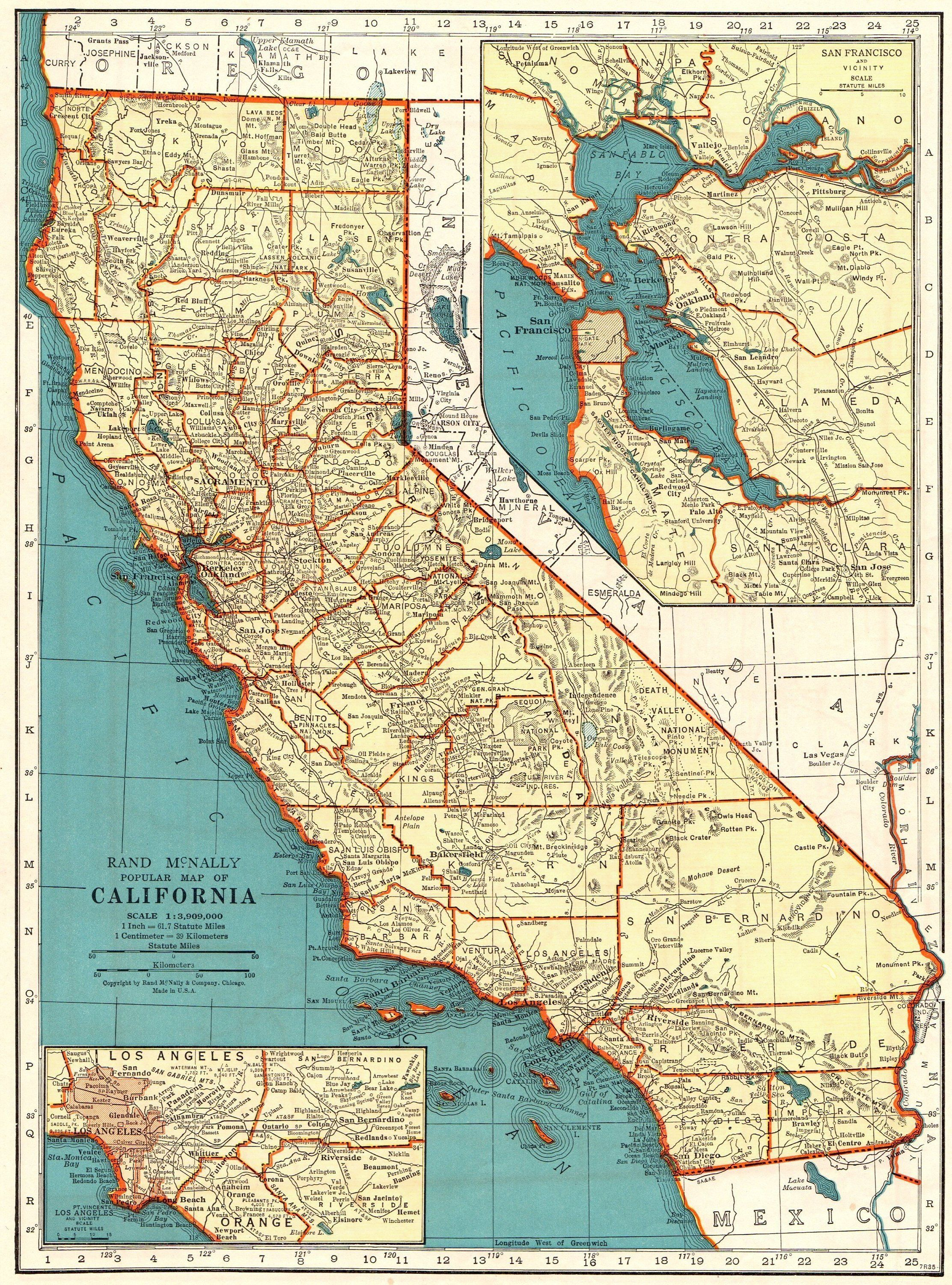 Vintage CALIFORNIA Map 1937 Antique State Map of California Gallery ...