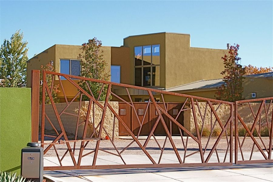 Abstract Modern Driveway Gate Fence Designs Including