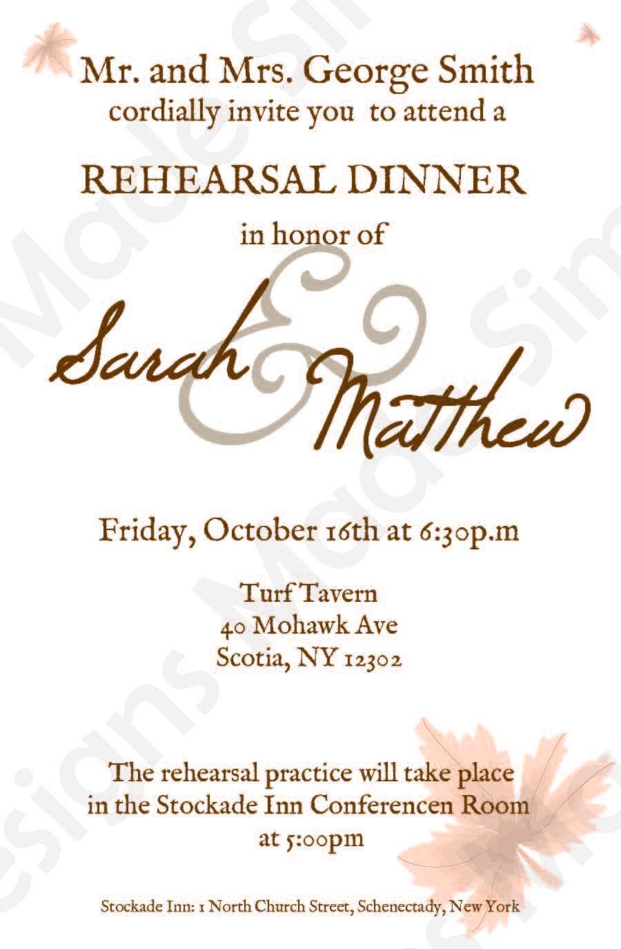 Fall Rehearsal Dinner Invitation Rehearsal dinner