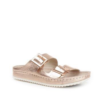 3326e185856abb Glanzend koperroze slippers