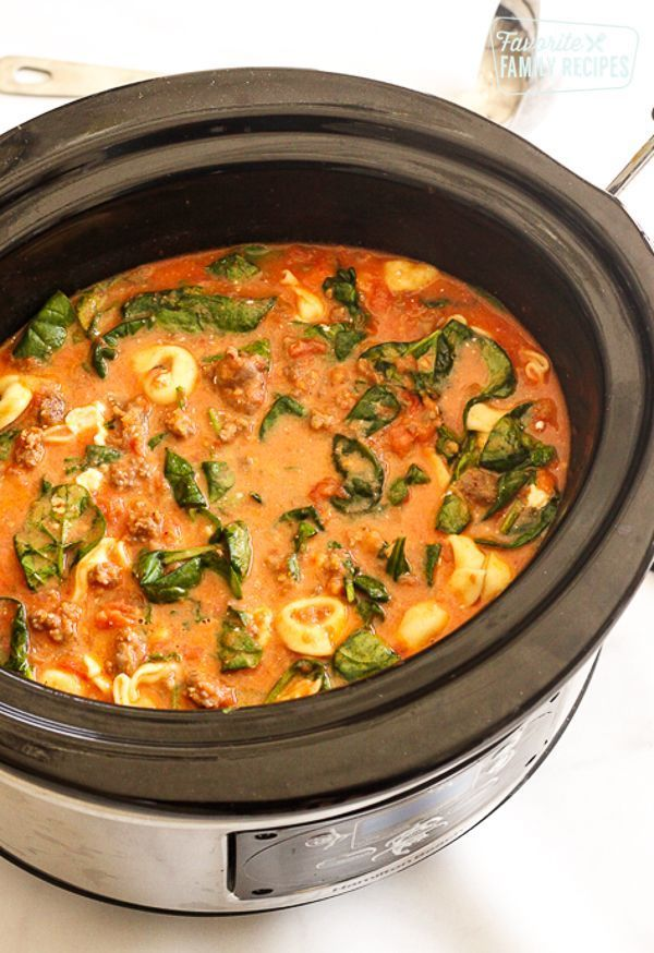 Tortellini Soup in a Slow Cooker   - yummy -