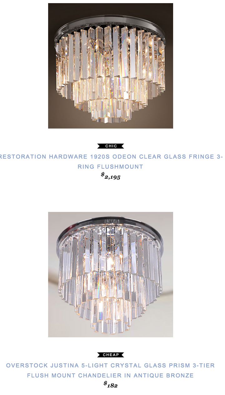 Restoration Hardware 1920s Odeon Clear Glass Fringe 3 Ring