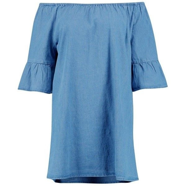 5f5f1a6934 Boohoo Lottie Ruffle Off The Shoulder Smock Denim Dress ( 40) ❤ liked on  Polyvore featuring dresses