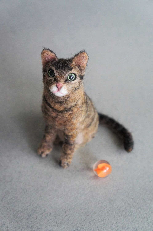 Needle Felted Cat Portrait , Custom Orange Long hair