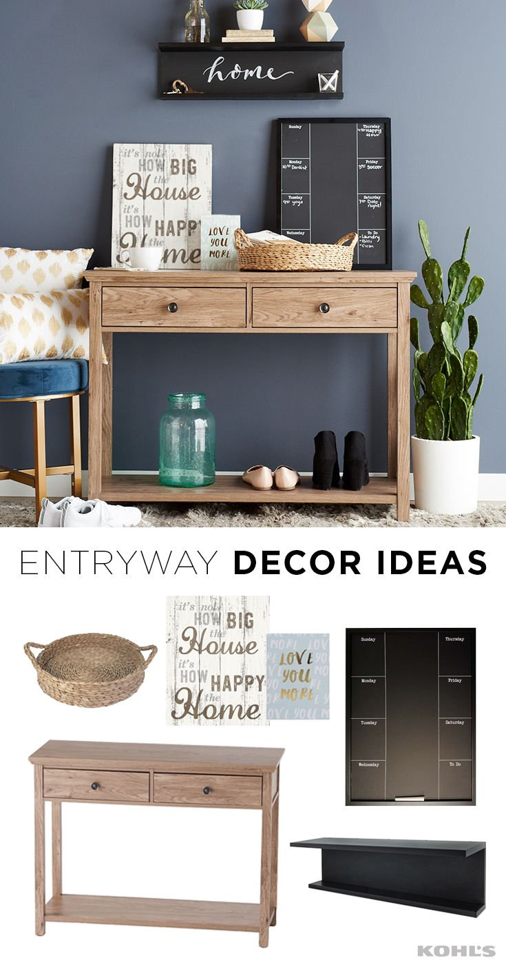 """Your entryway may seem tiny, but it's the first thing guests see when they come into your home! Make an impression with practical decor that looks great but also serves a purpose. Featured product includes: SONOMA Goods for Life canton console table, sea grass decorative tray and wide blue bubble glass vase; Nexxt noto tiered chalkboard wall shelf; Belle Maison """"love you more"""" box sign art; INK+IVY Nadia metallic dot throw pillows."""