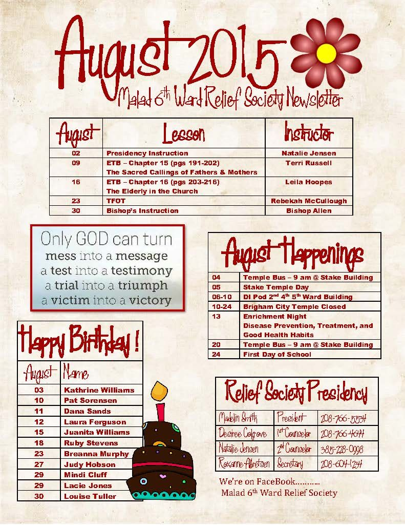 RELIEF SOCIETY NEWSLETTER AUGUST 2016 THE CHURCH OF JESUS