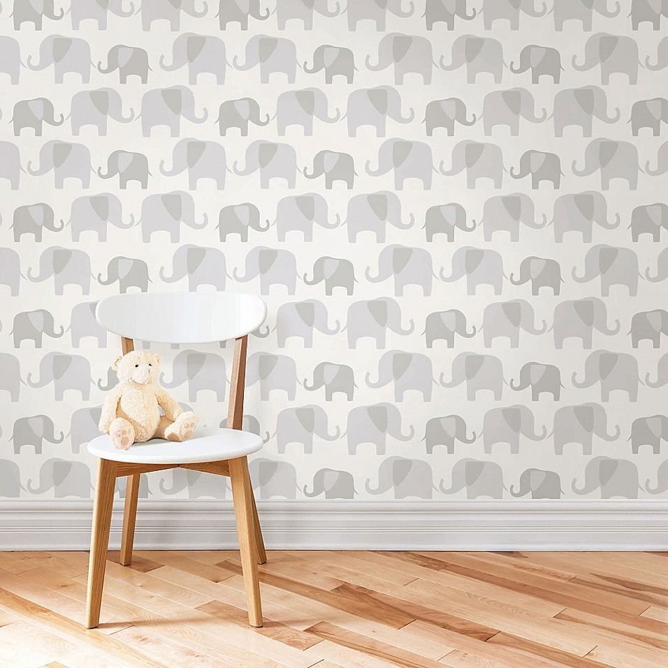 Wallpops Nuwallpaper Elephant Parade Peel Stick Wallpaper In Grey In 2020 French Country Decorating Baby Wall Decals Kid Room Decor