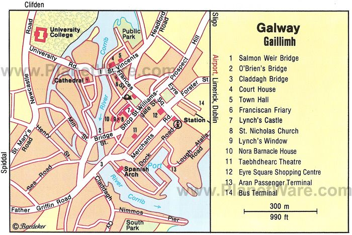 Galway Map Regional City Of Ireland Galway Tourist Map Map